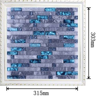 dimensions of grey stone strip glass blend mosaic glass tile - n008