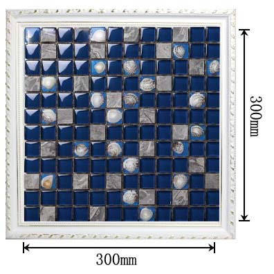dimensions of stone glass shell blend mosaic glass blue tile - 616