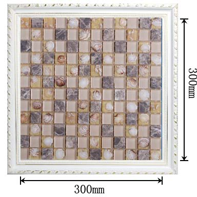 dimensions of stone glass shell blend mosaic glass tile - hc099