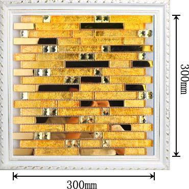 dimensions of the gold 304 stainless steel metal crystal diamond glass mosaic tile - 10101