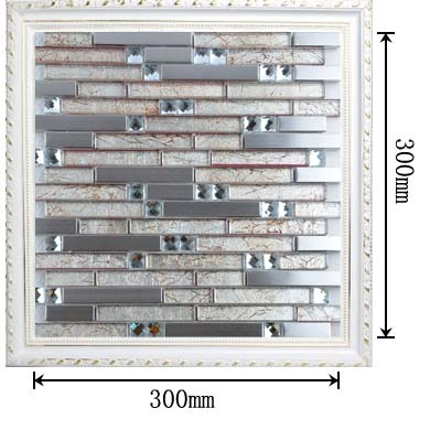 dimensions of the silver 304 stainless steel metal glass mosaic tile - t004