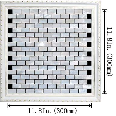dimensions size of the mother of pearl tile with porcelain base - st055