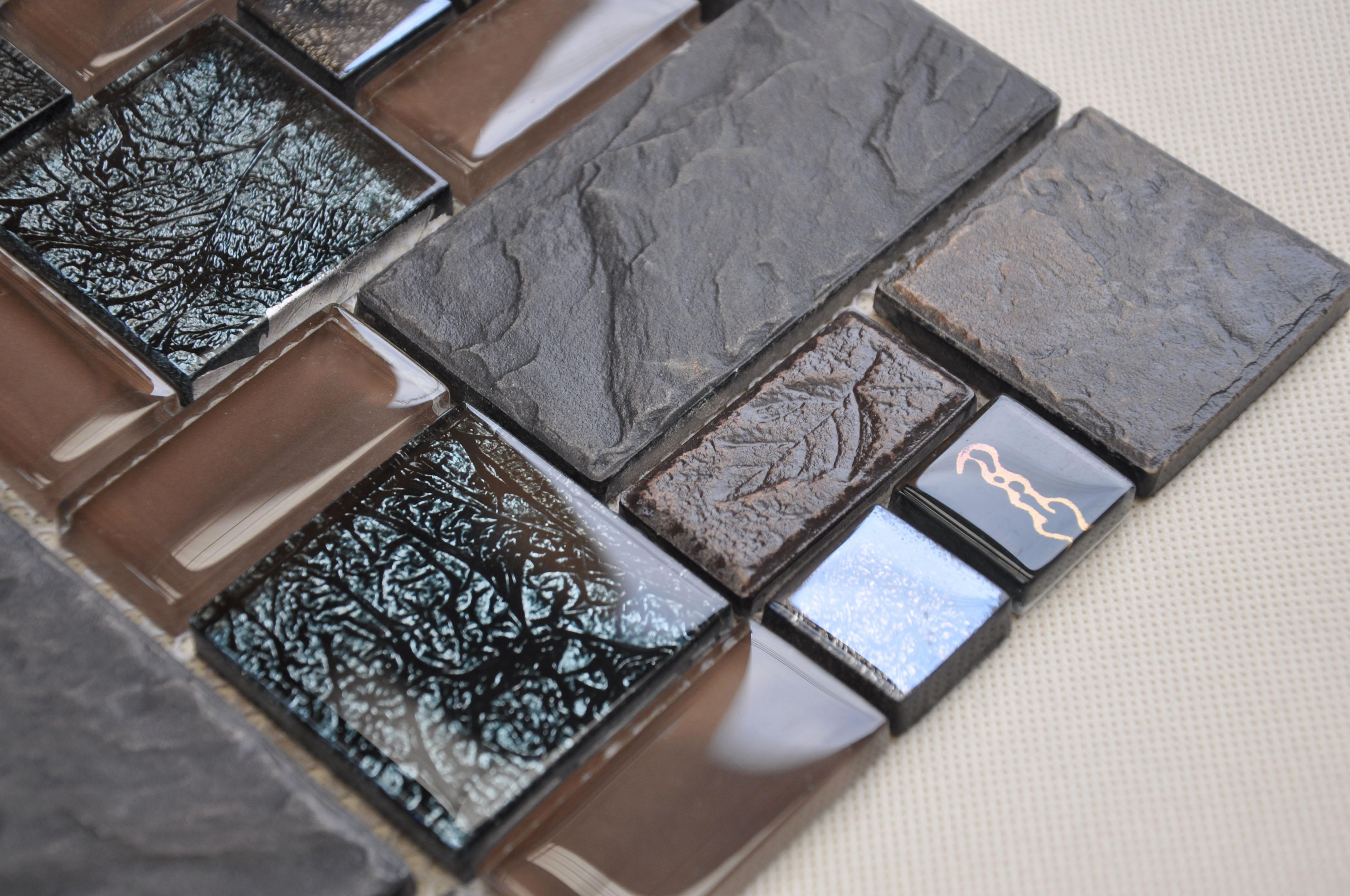 Porcelain and Glass Tiles Wall Bathroom Backsplash Leaves Patterns ...