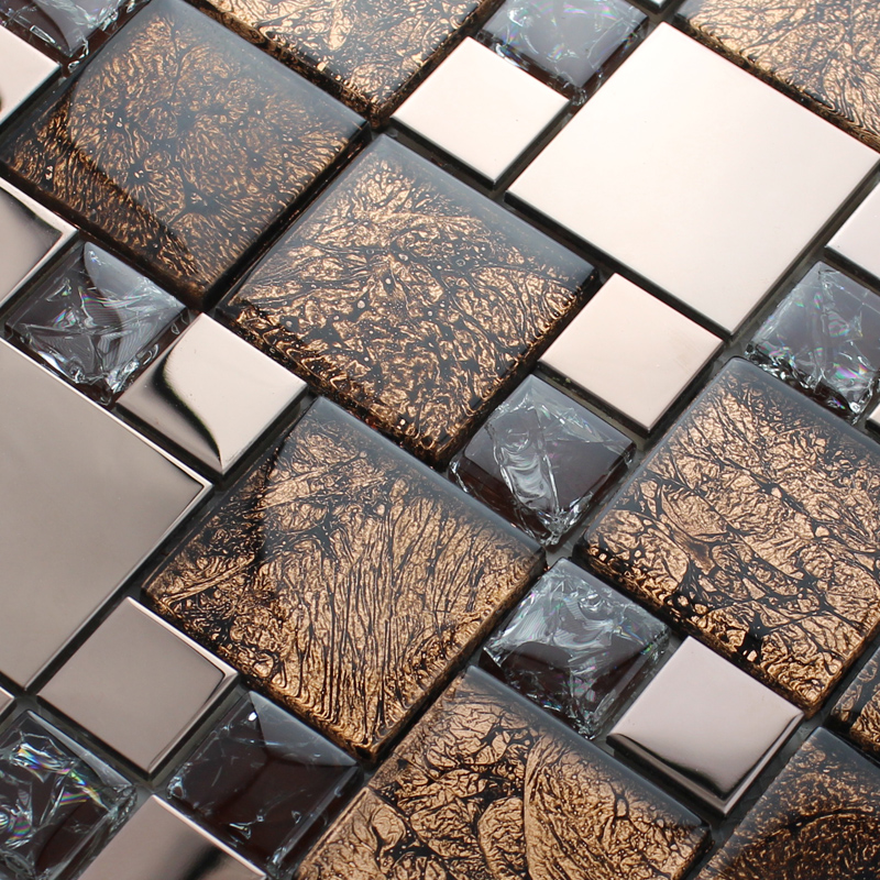 Silver Stainless Steel Metal Mosaics Crackle Glass Tile Brown Walls