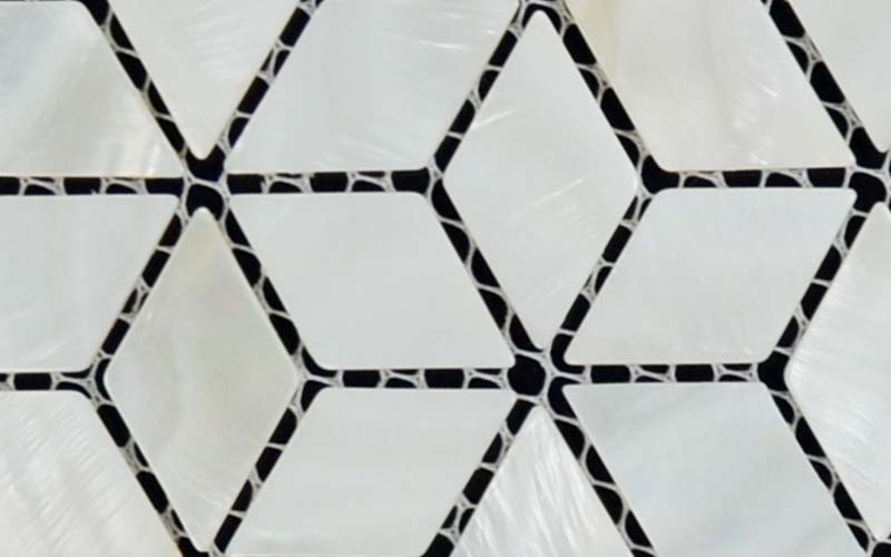 enlarged photo of the mother of pearl tile diamond mesh mounted shell mosaic tiles - st056
