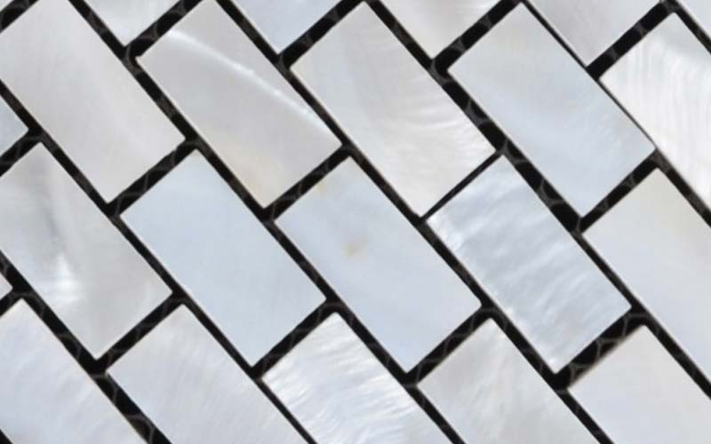 enlarged photo of white shell tile mother of pearl mosaic - st055