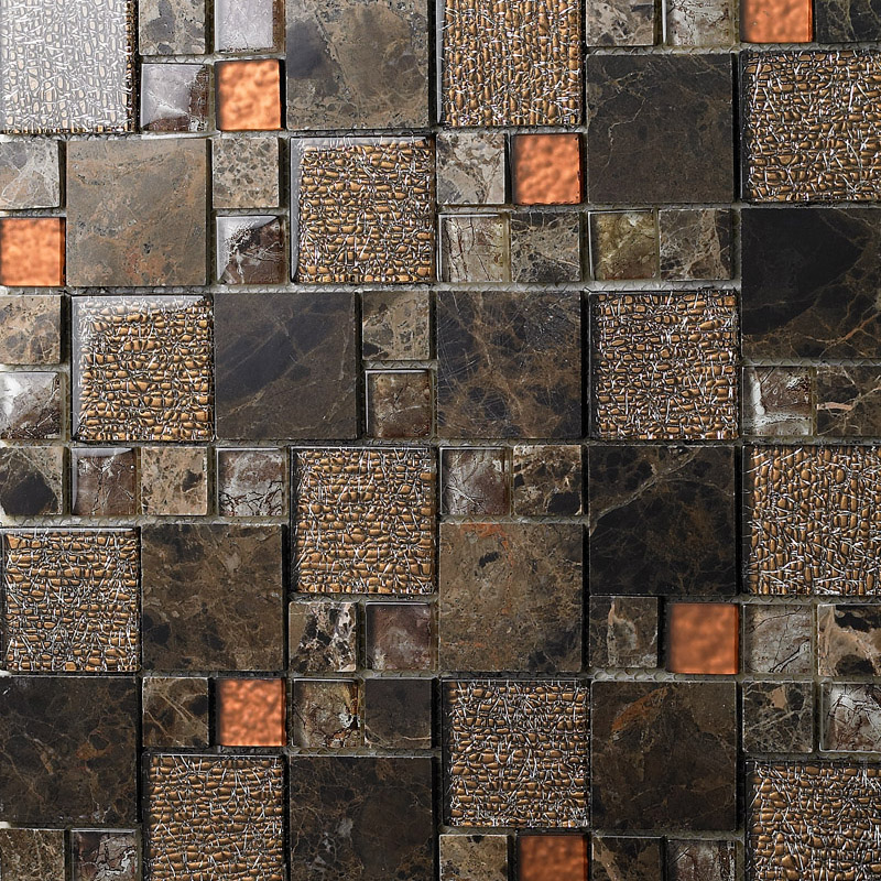stone and glass mosaic sheets square tiles emperador dark marble