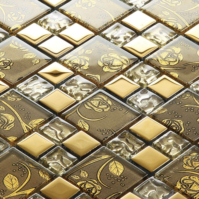 Gold Items Crystal Glass Mosaic Tile Wall Backsplashes