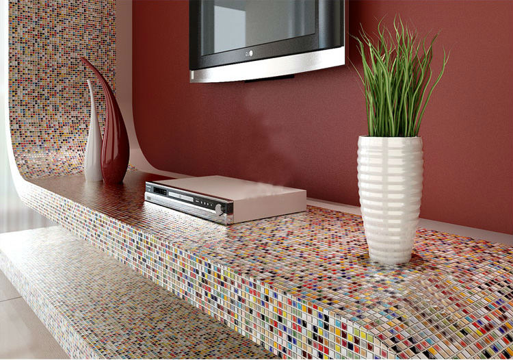 Glaze porcelain mosaic tile colorful kitchen wall tiles for Classic kitchen floor tile