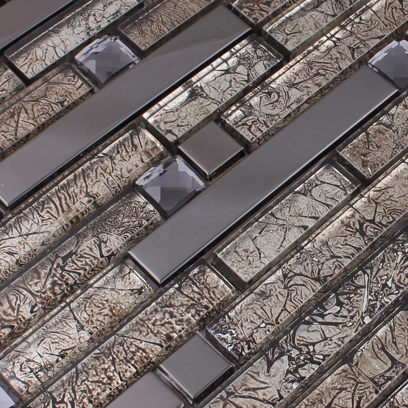 Wholesale Metallic Backsplash Tiles Brown 304 Stainless Steel Sheet Metal  and Crystal Glass Mosaic Wall Decor