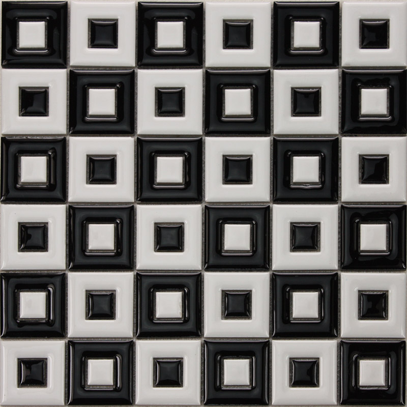 Black White Ceramic Mosaic Bathroom Floor Tiles Uniform Porcelain Window Patterns Designs Bwc9003