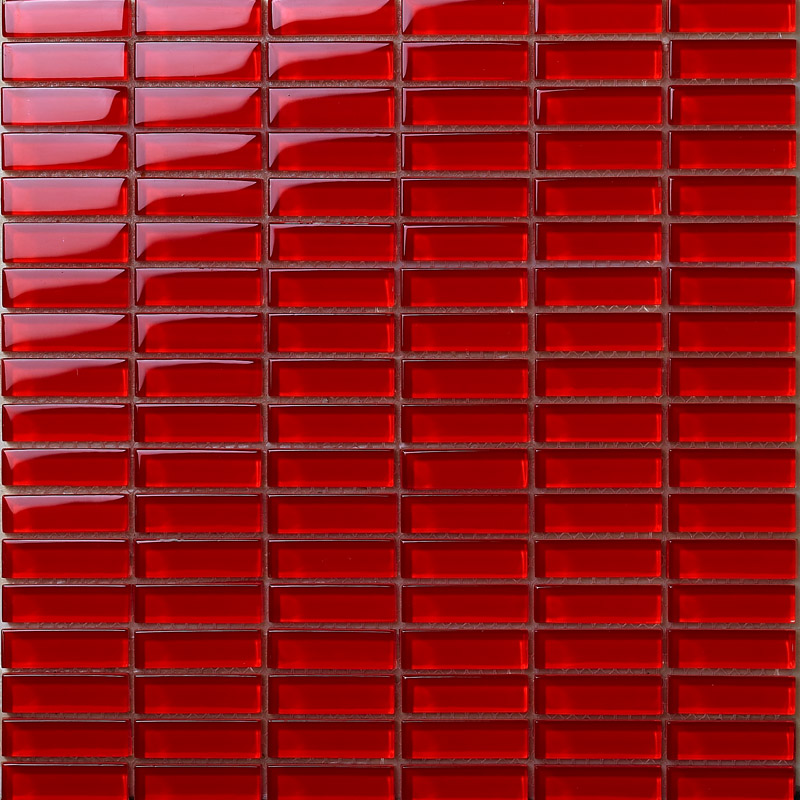 Crystal Glass Tile Brick Rectangle Kitchen Backsplash Tiles Bathroom Wall Stickers Red Mosaic Tiles 663