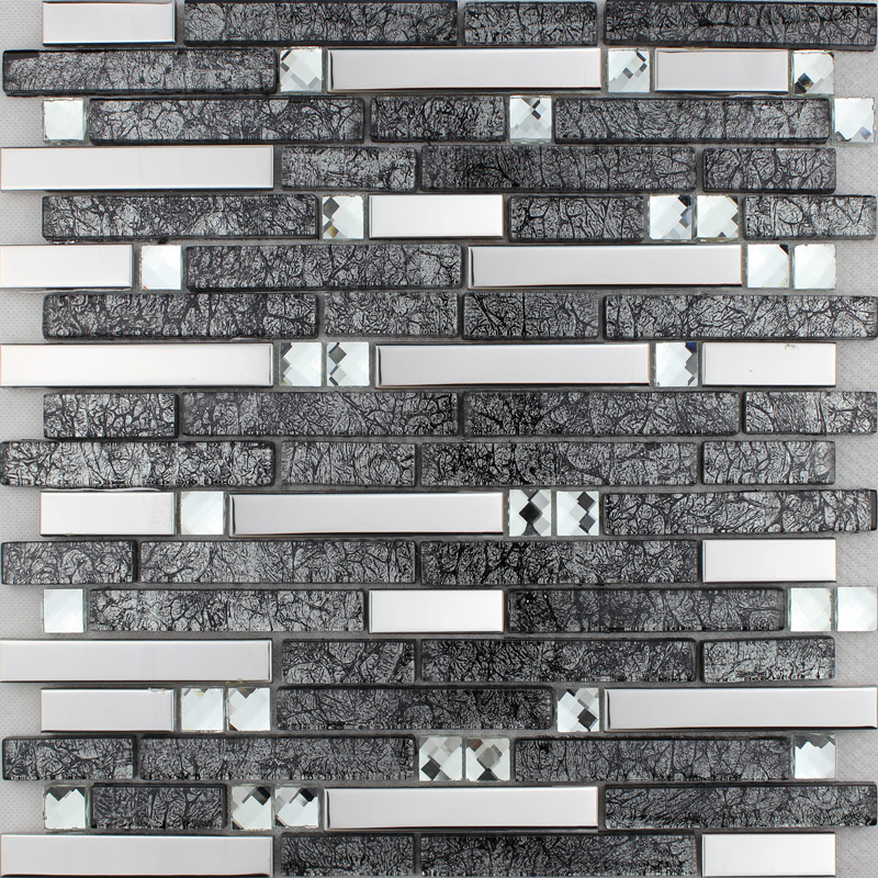Brown Glass And Stainless Steel Mosaic Wall Tile Backsplash Silver Metal  Diamond Crystal Tiles ...