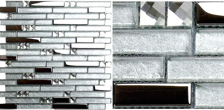 Metal Diamond Glass Mosaic Bath Wall Silver Stainless