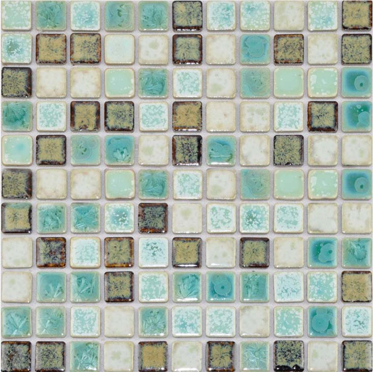 front side of porcelain mosaic  pool tile - TC-2508TM
