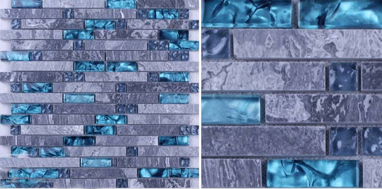 front side of the grey stone blue glass blend mosaic tile wall stickers - n008