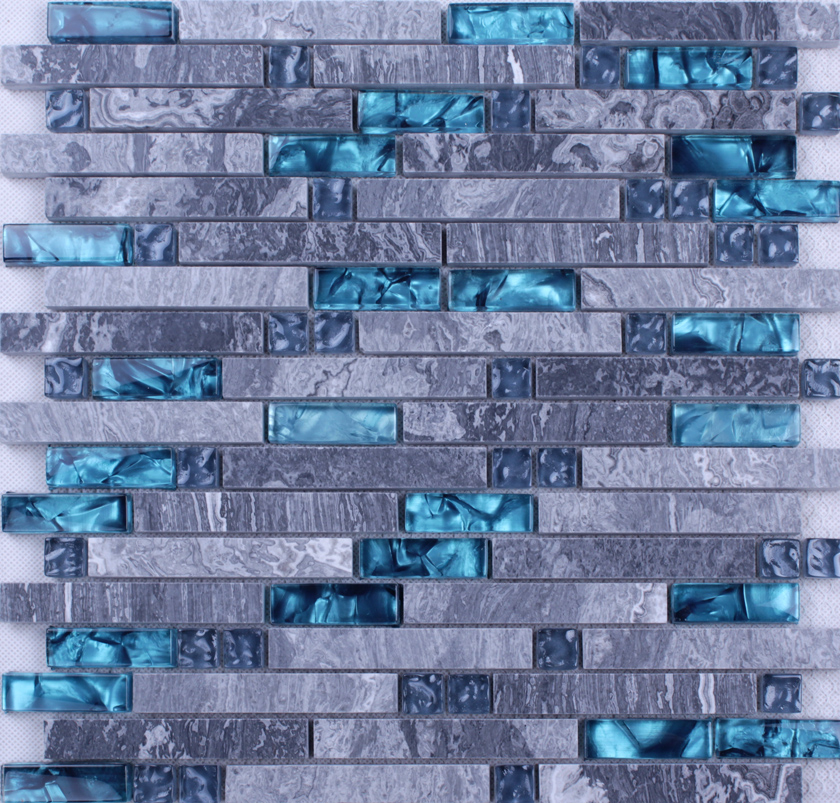grey marble stone blue glass mosaic tiles backsplash