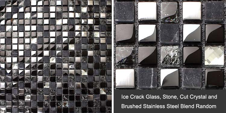 Black Glass Mosaic Diamond Gray Marble Plated Silver