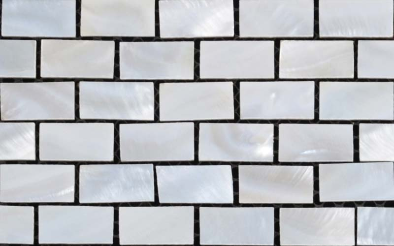 front side of the mother of pearl tile interior design wall - st055