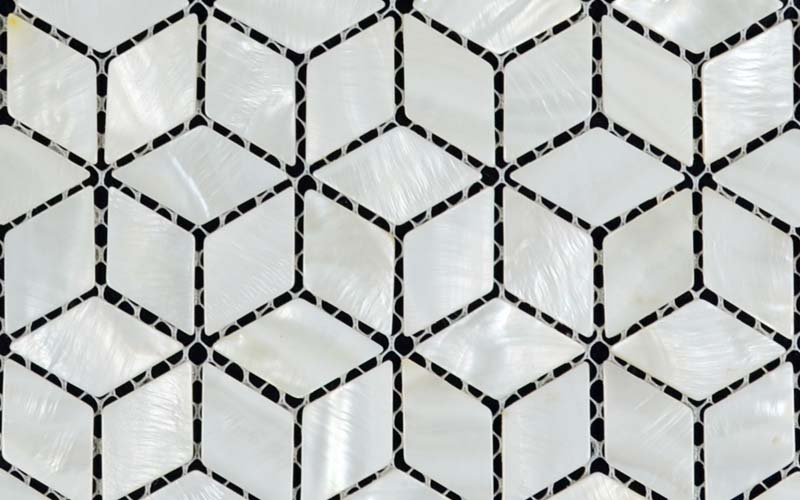 front side of the mother of pearl tile natural white shell tile backsplash - st056