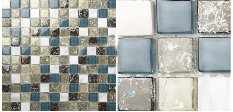 front side of the stone glass blend crackle mosaic tile - l316