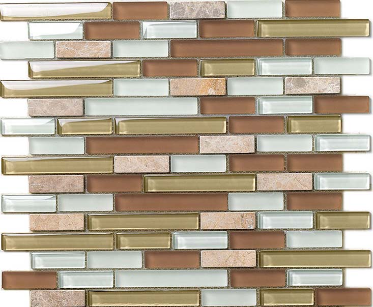 front side of the stone glass blend mosaic tile - 619