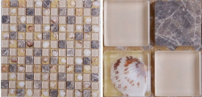 front side of the stone glass blend mosaic tile - hc099