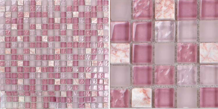front side of the stone glass blend pink mosaic tile - k1638