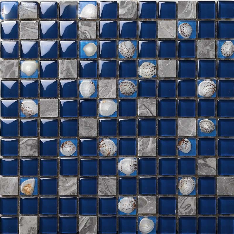 front side of the stone glass blend shell mosaic blue tile - 616