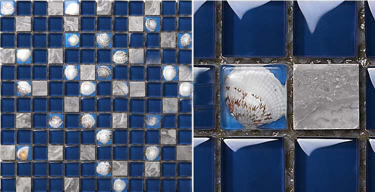 front side of-the stone glass blend shell mosaic natural marble blue tile - 616
