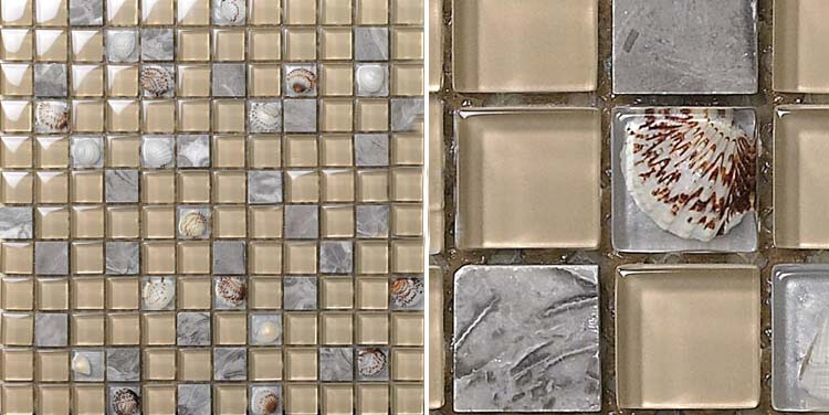 front side of-the stone glass blend shell mosaic tile - 615