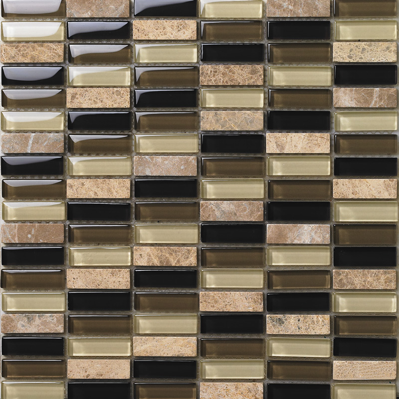 front side of the strip stone crystal glass blend mosaic tile - 605