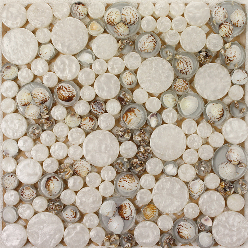 White Mosaic Tile Resin Glass Conch Tile Backsplash Penny