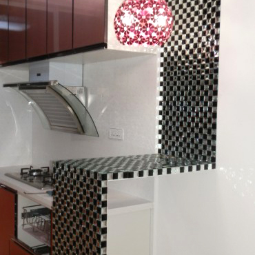 glass mosaic tile black and white crystal backsplash kitchen wall tiles - kl923