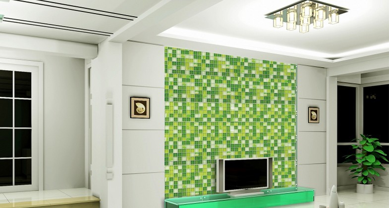 glass mosaic tile crystal TV backsplash green wall tiles - yf-mtlp22