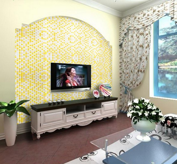 living room wall tiles yellow and white glass mosaic glossy tile backsplash wall 14758