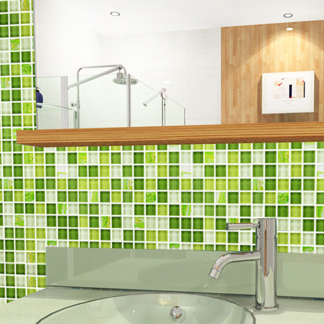 glass mosaic tile crystal washroom backsplash green wall tiles - yf-mtlp22