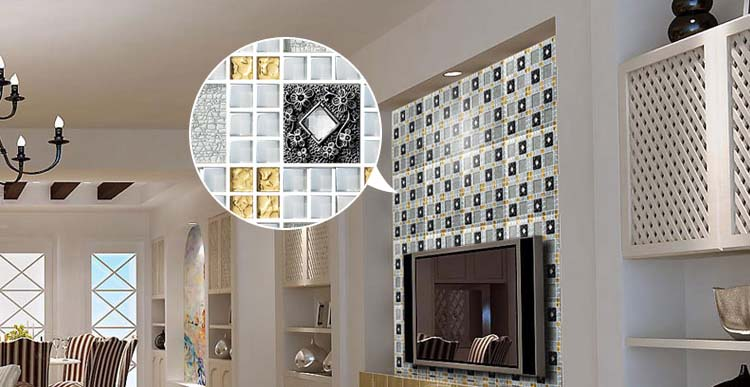 glass mosaic tile diamond crystal backsplash dining room wall tiles - 611