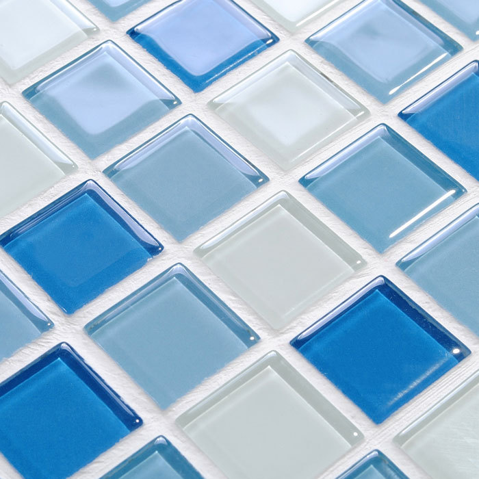 Wholesale Glass Mosaic for Swimming Pool Tile Blue White Mix Crystal  Backsplash Decorative Art Wall Stickers