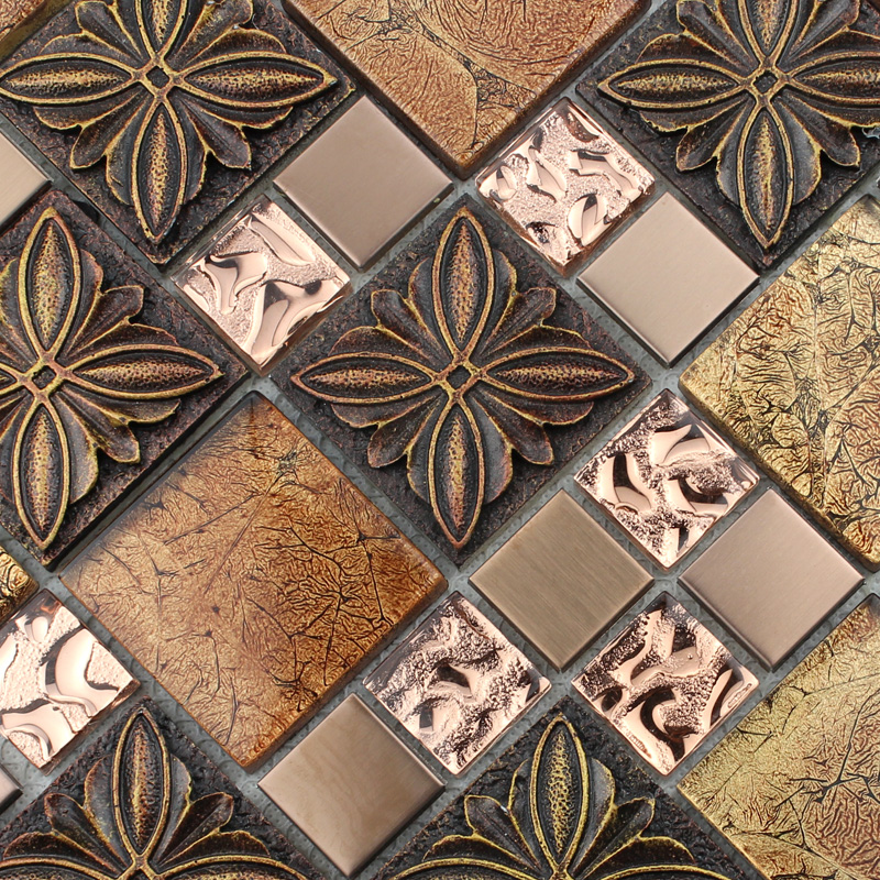 Gl Tile Brown Mosaic Tiles Crystal