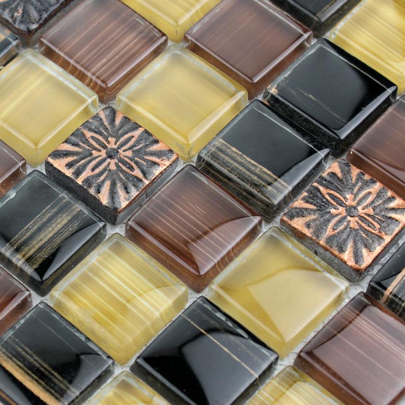 Cream Glass Subway Tile Backsplash
