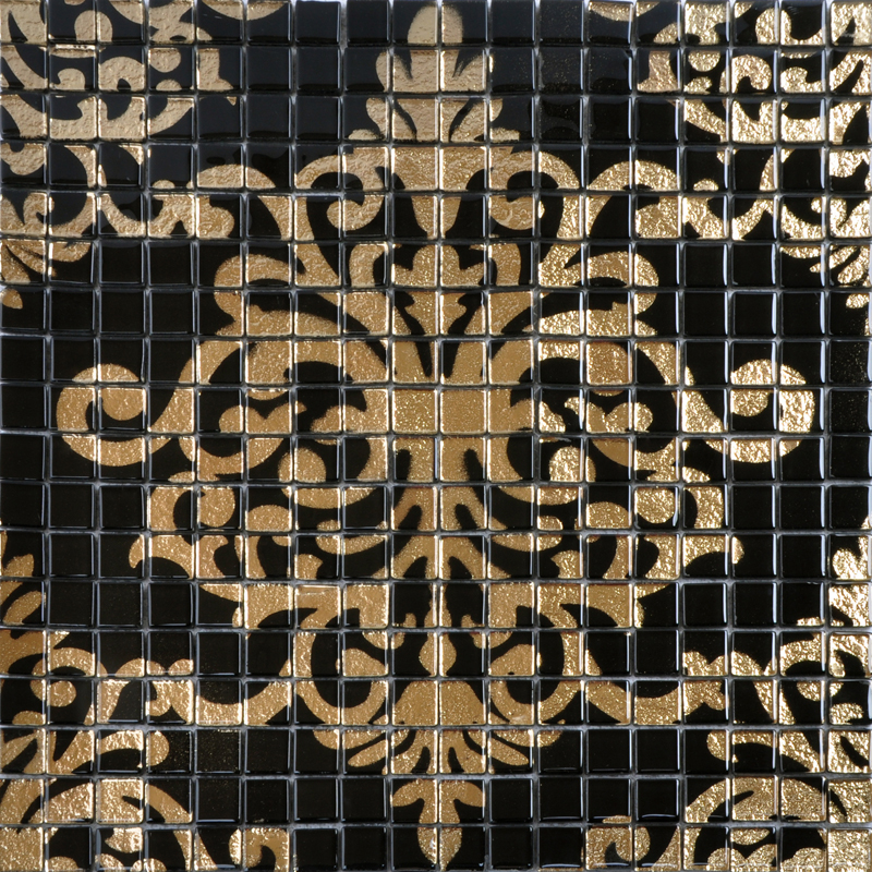 Gold and black tile mural puzzle mosaic glass wall murals Mosaic tile wall designs