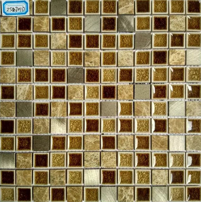 Brown Stone And Glass Mosaic Tile Brushed Aluminum Metal