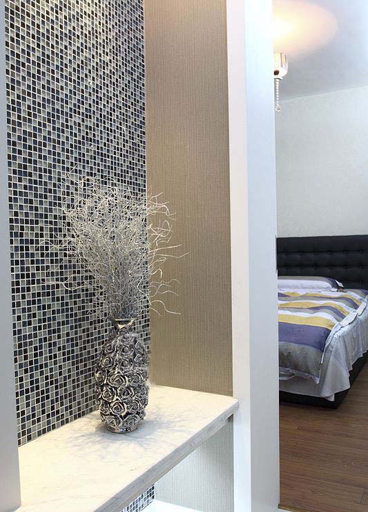 glass stone tile stainless steel bedroom mirror wall sticker - ks66b