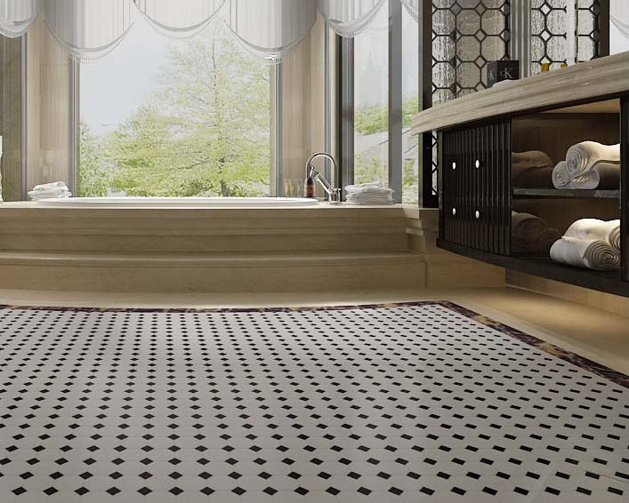 glazed porcelain floor tile  hb 680 Wholesale Glazed Porcelain Pool Tile Mosaic Black White Octagon