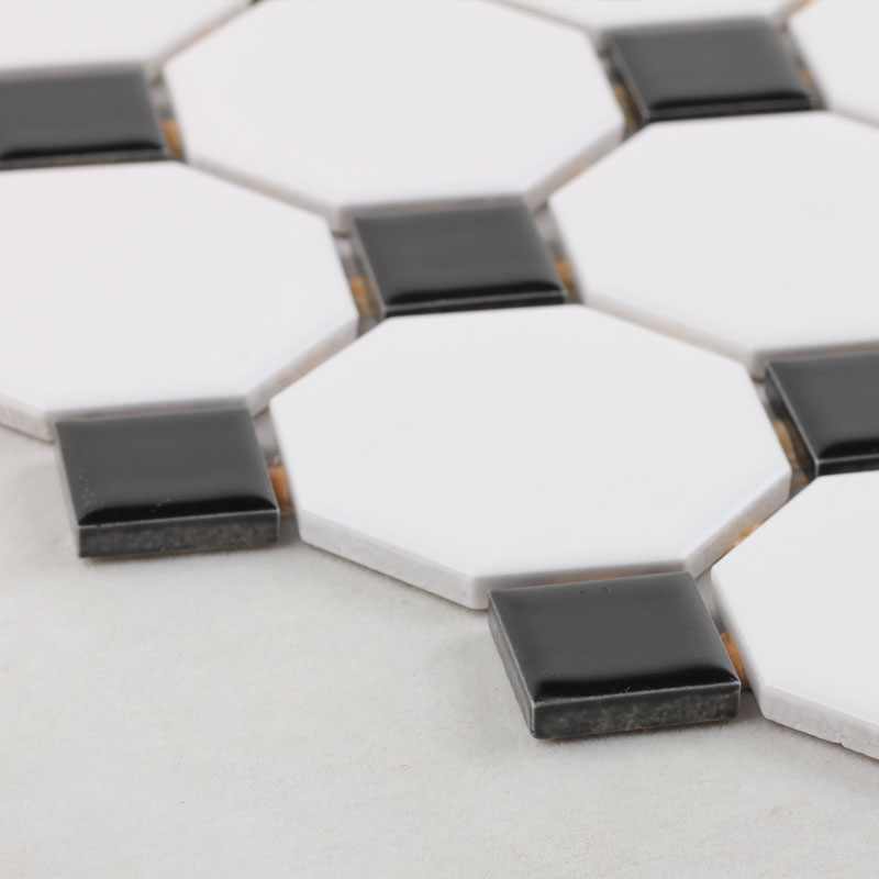Wholesale Glazed Porcelain Pool Tile Mosaic Black White Octagon