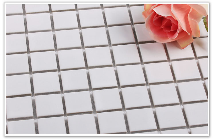 glazed porcelain white mosaic floor tile details - hb-002