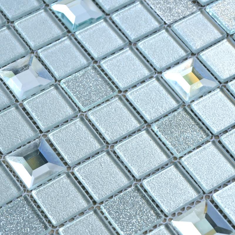 Wholesale grey crystal glass mosaic tiles washroom for Pool bathroom flooring