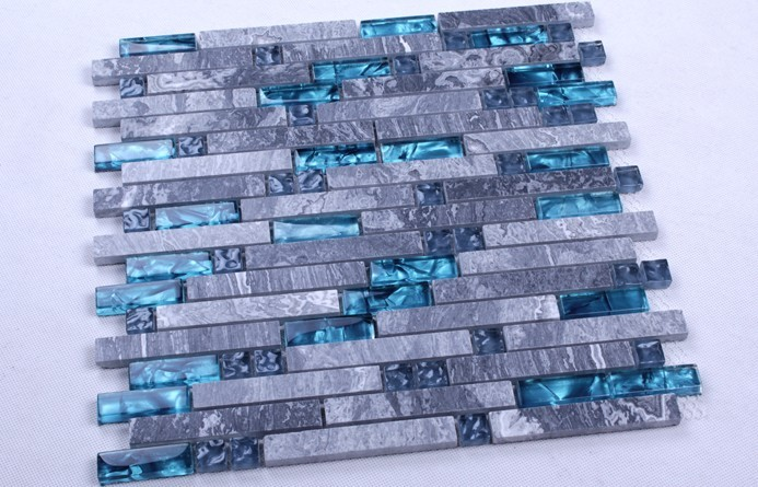 grey marble blue glass mosaic tile wall sticker - n008