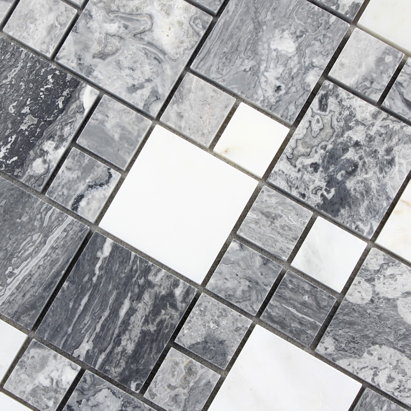 Wholesale grey stone with white crystal mosaic tile sheet for Black and white marble bedding